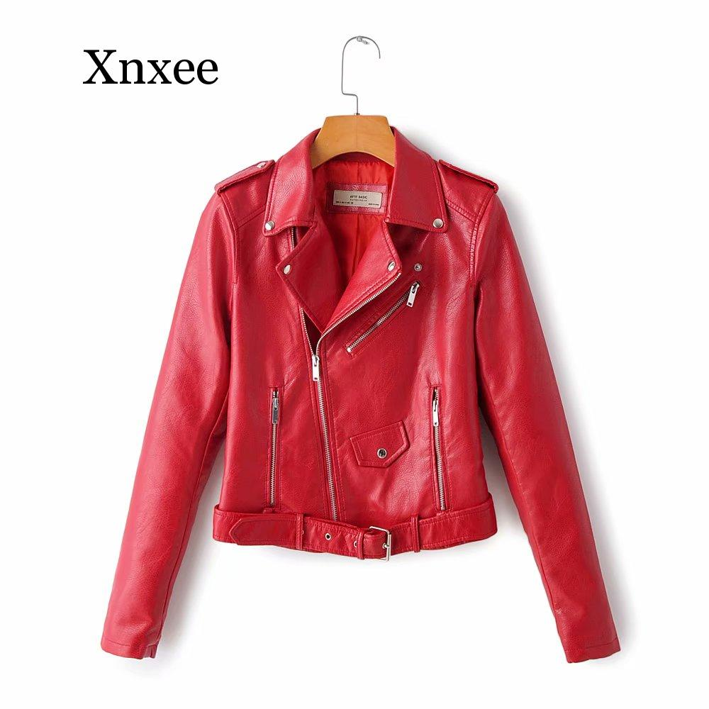 Motorcycle leather jackets Windproof short Winter Autumn  yellow leather jacket women leather coat  slim PU moto biker short red classical men leather jacket lapel full motorcycle slim cool pu jackets black white coat autumn winter clothing moto