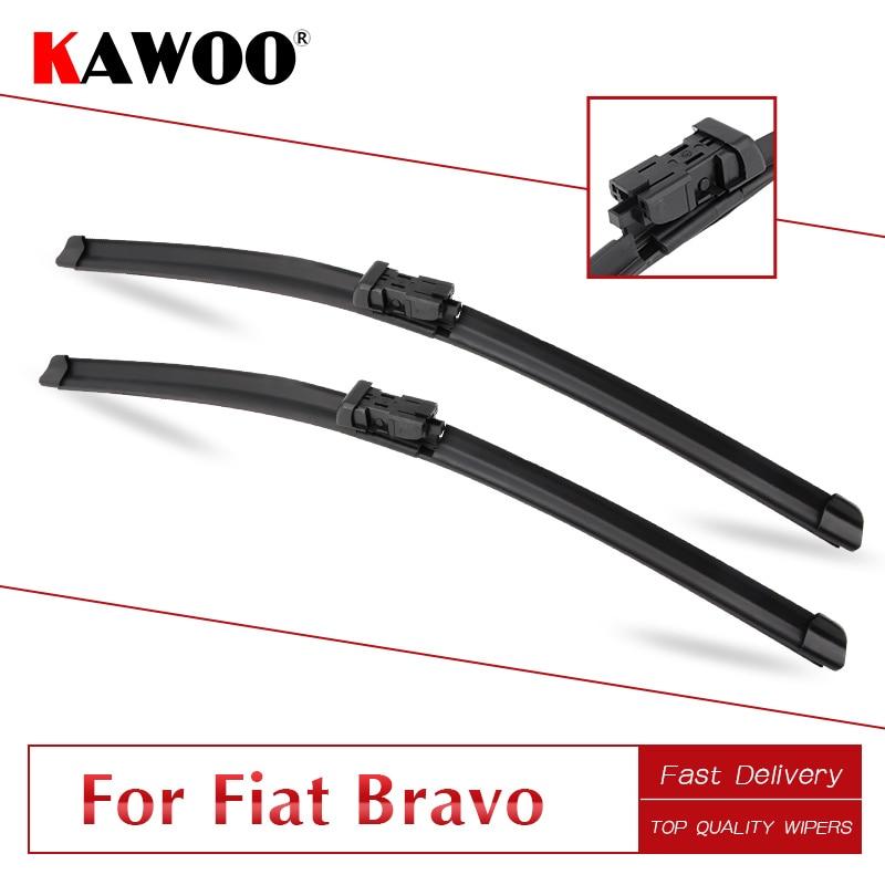 KAWOO para FIAT Bravo 2007, 2008, 2009, 2010, 2011, 2012, 2013, 2014, 2015, 2016 de goma Auto Windcreen limpiaparabrisas hojas Fit botón de brazo