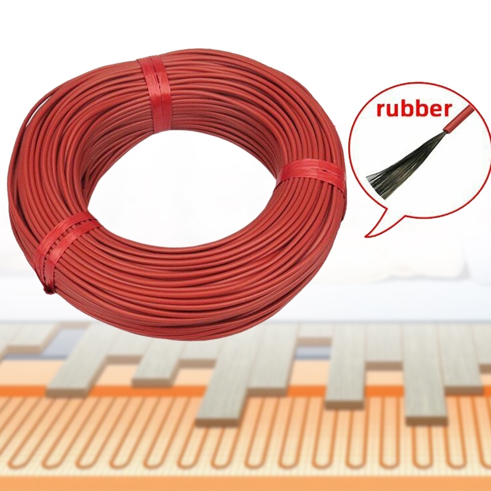 100m 12K Cable de calefacción infrarrojo hogar alambre suelo cálido invernadero duradero rojo fibra de carbono multiusos aislante eléctrico Manta
