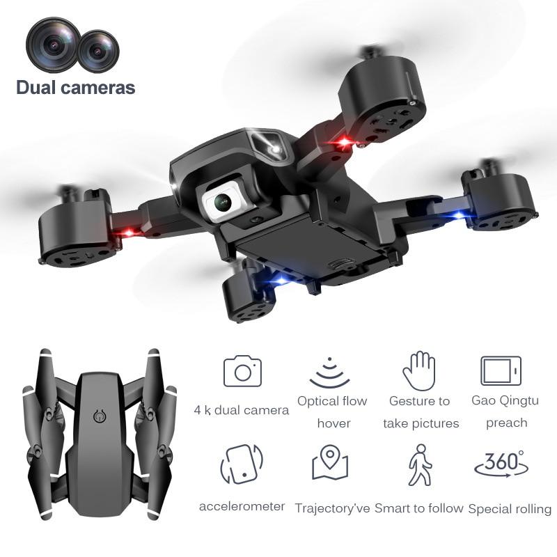 4K كاميرا مزدوجة استقرت الطيران للطي مروحية لعبة بدون طيار اتصال مع الهاتف واي فاي FPV سباق لتحديد المواقع زاوية واسعة طوي اللعب