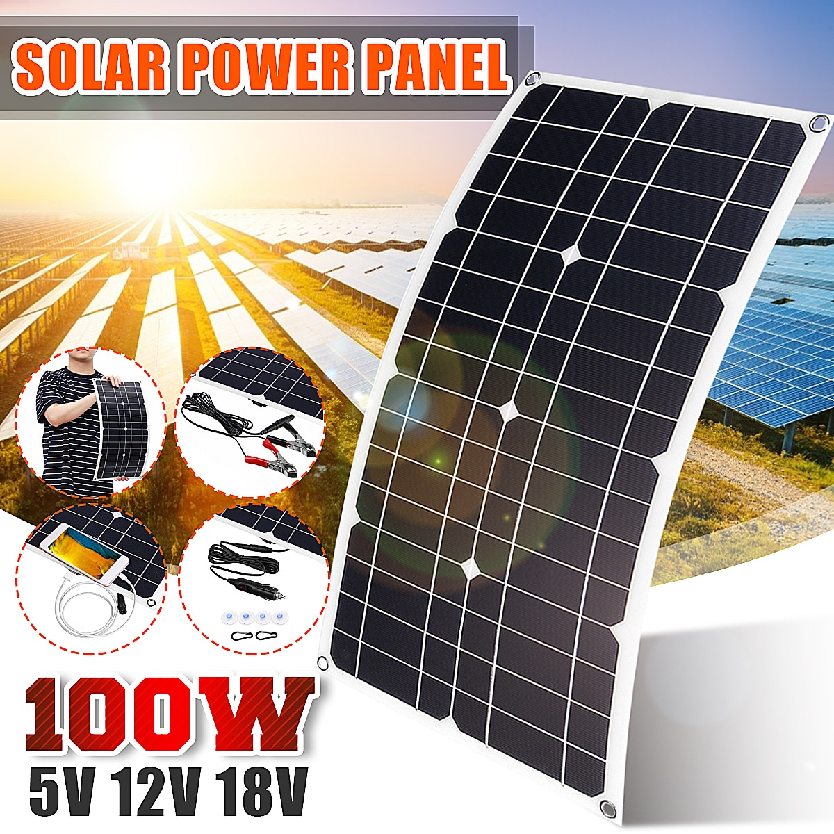 100W الشمسية لوحة USB 5V DC 12V مع 10/20/30A تحكم مرنة الخلايا الشمسية ل سيارة يخت بطارية شاحن للماء