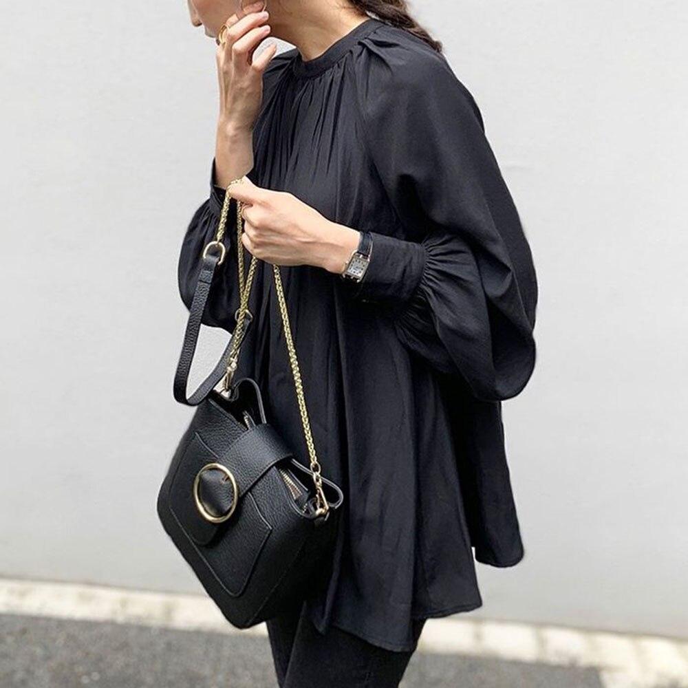 Otoño Camiseta de manga larga negro sólido Oficina señoras elegante coreano básico suelto mujeres suéter camisetas para primavera minimalista