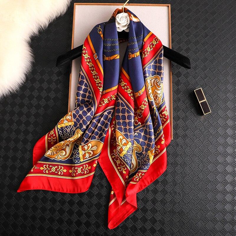 2020 bufandas de marca de lujo de 90cm cuadrado de verano suave impresión bufanda de seda mujeres regalo de moda hijab señora chal playa pañuelo