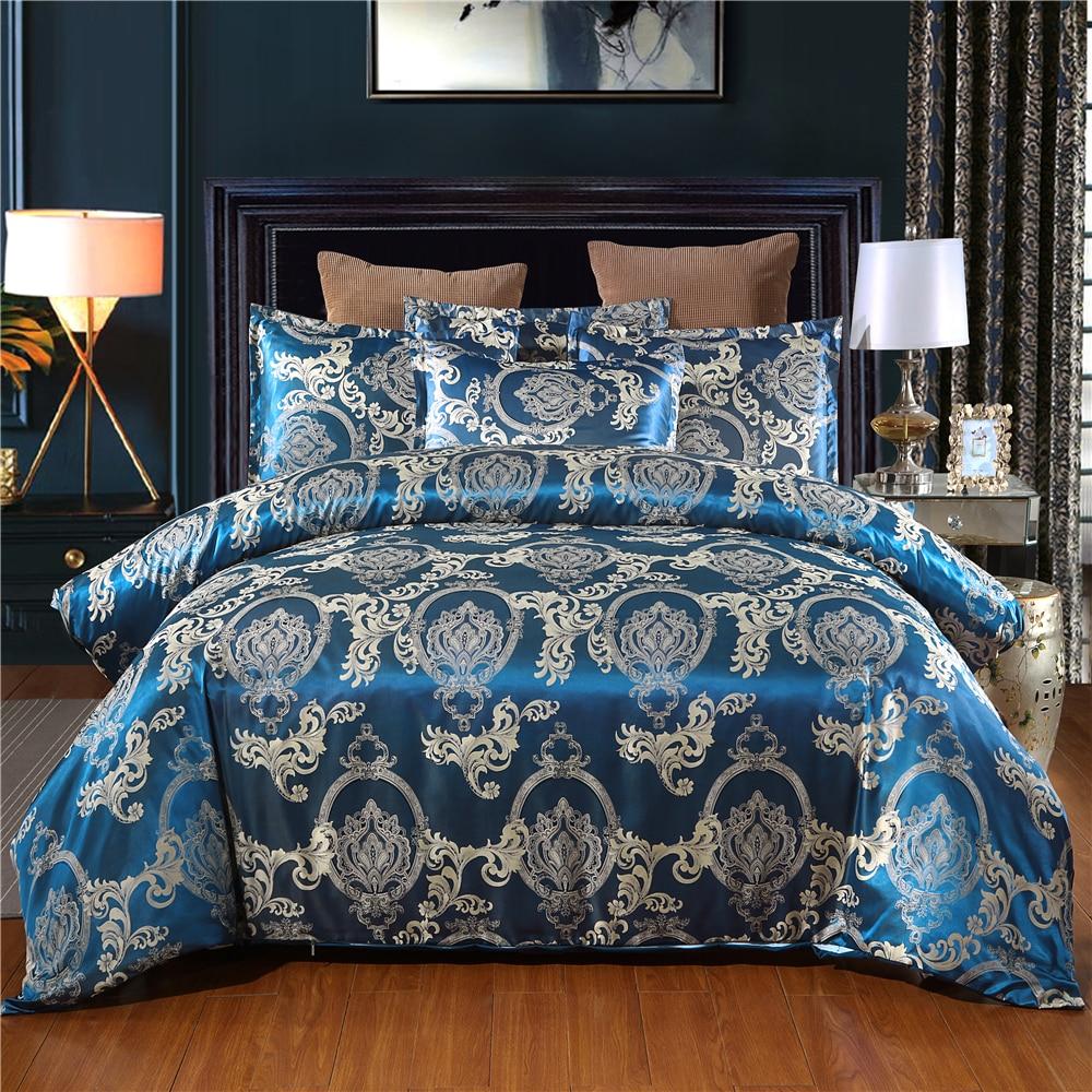 Lujoso satén sedoso ropa de cama conjunto de funda de almohada Jacquard flor ropa de cama suave funda nórdica para cama de adultos azul ropa de cama Set Twin
