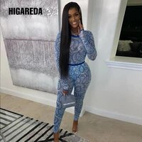 higareda women mesh see through sexy sets pattern print two pieces stretchy long sleeve tshirt high waist legging 2020 new