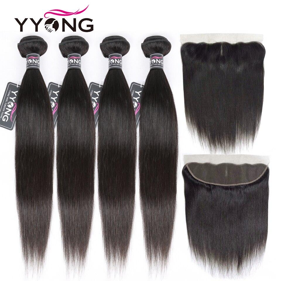 Yyong Gerade Haar Bundles Mit Frontal Peruanische Haar 4 Bundles Mit 13X4 Spitze Frontal Verschluss Medium Braun Schweizer spitze Remy