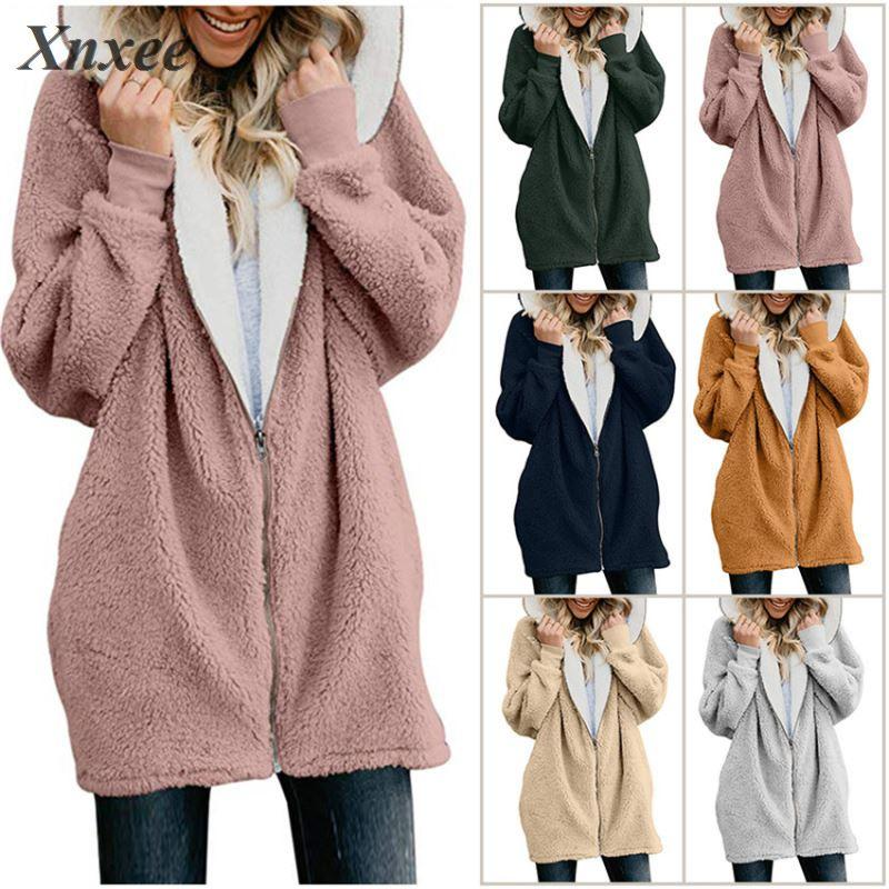 Casacos femininos casaco de inverno casaco de lã quente jumper casaco de pele do falso com capuz outwear plus size 5xl