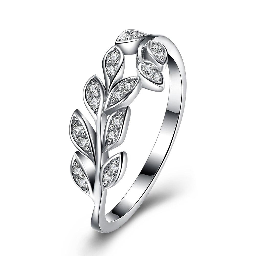 SILVERHOO 925 пробы серебряные кольца в форме листьев для женщин мерцающее кольсветильник из Кубического циркония светлые женские обручальные п...