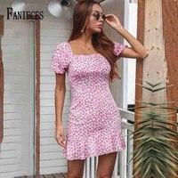 summer dress retro boho women square collar floral print mini dress elegant puff sleeve ruffle dresses sexy holiday vestidos