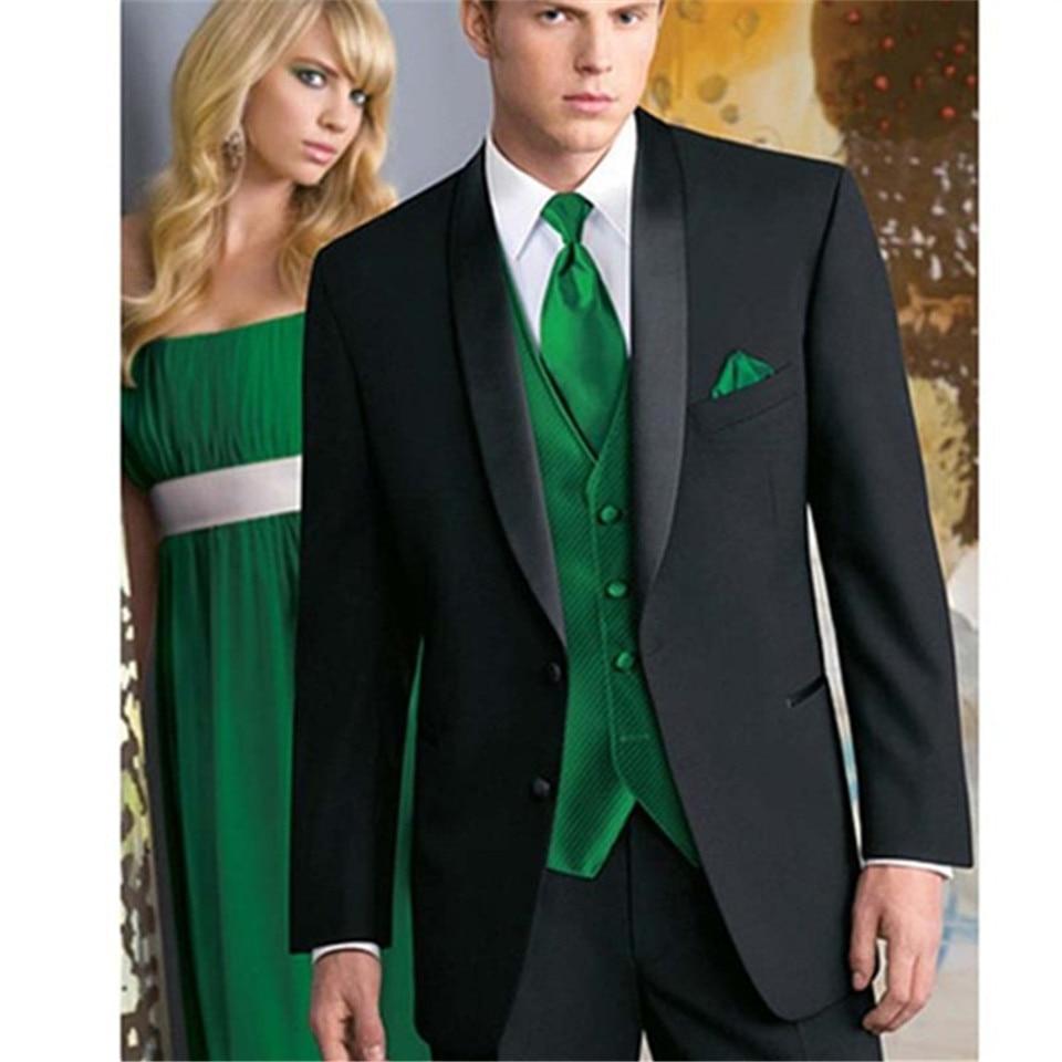 Nuevo traje clásico para hombre smoking Noivo Terno ajustado traje de noche Easculino para hombre a medida esmoquin negro solapa chaleco verde Tuxe