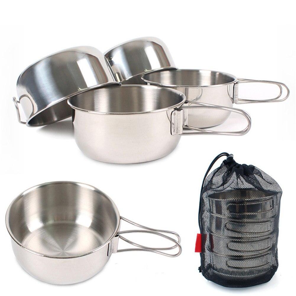 Tigelas dobráveis conjunto 4 pçs pçs/set 650ml de aço inoxidável tigelas piquenique ao ar livre dobrável combinação talheres para churrasco acampamento YS-BUY