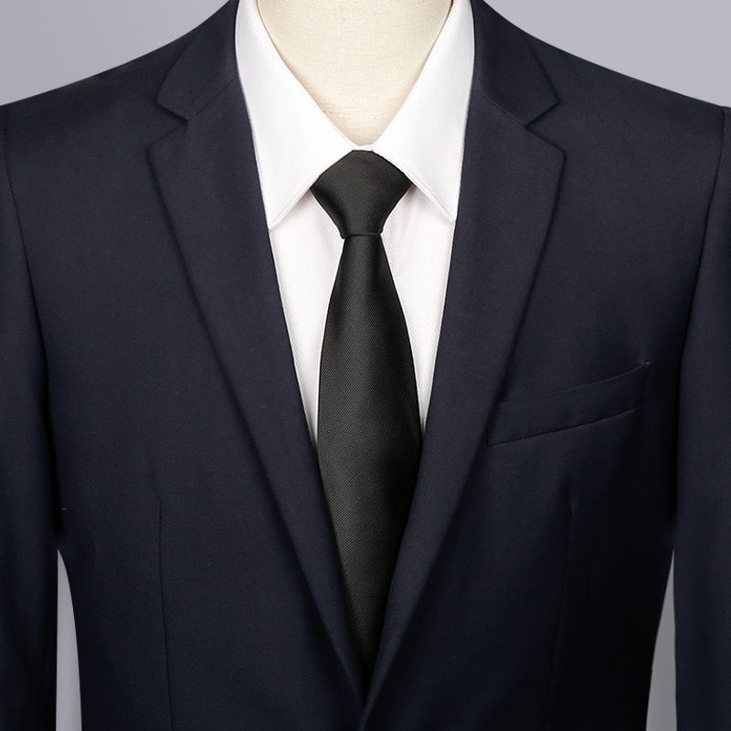 High Quality 2019 New Designers Brands Fashion Business Casual 7cm Slim Ties for Men Necktie Black Work Wedding with Gift Box