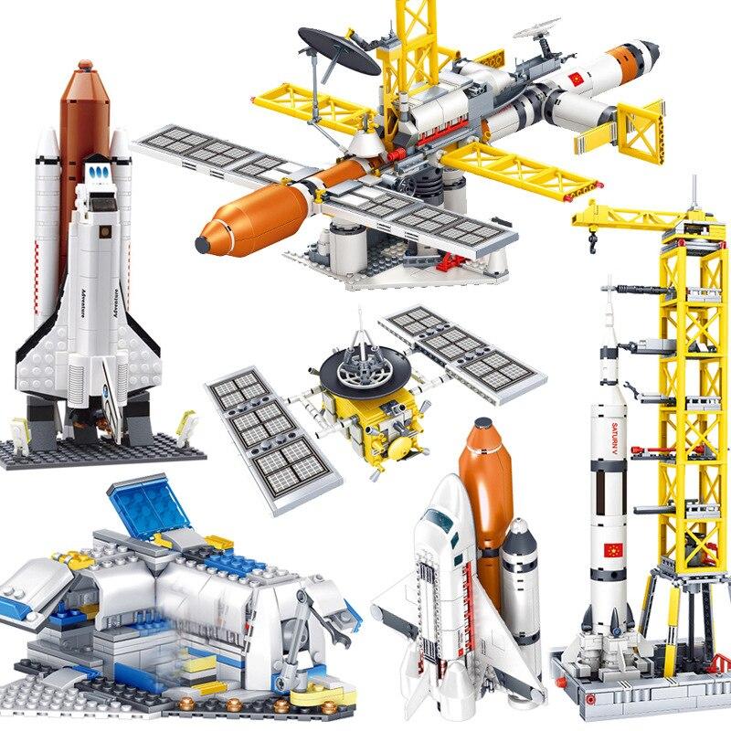 Espacial aventura nave espacial cohete lanzador espacio nave estación lanzadera nave espacial juguete de bloques de construcción regalo