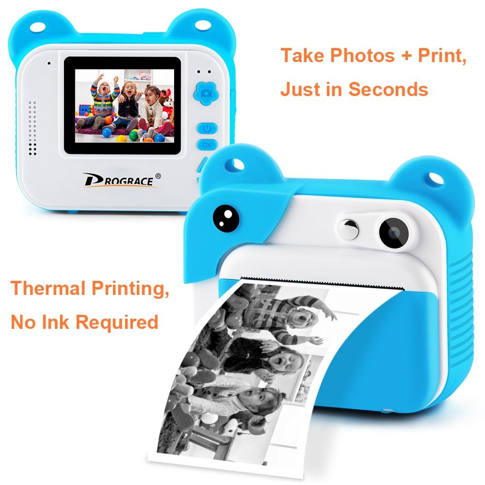 Prograce Kid Instant Print Camera Thermal Printing Camera Digital Photo Camera Girl's Toy Child Camera Video Boy's Birthday Gift enlarge