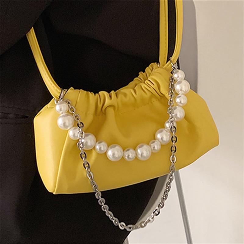 Women Soft PU Leather Drawstring Dumpling Crossbody Bags Pearl Chain Small Handbags Female Elegant Simple Shoulder Bag Sac 2021