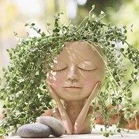 creative face resin desktop flower pot statue ornaments cute opening eyes face head plant pot for home office garden decoration