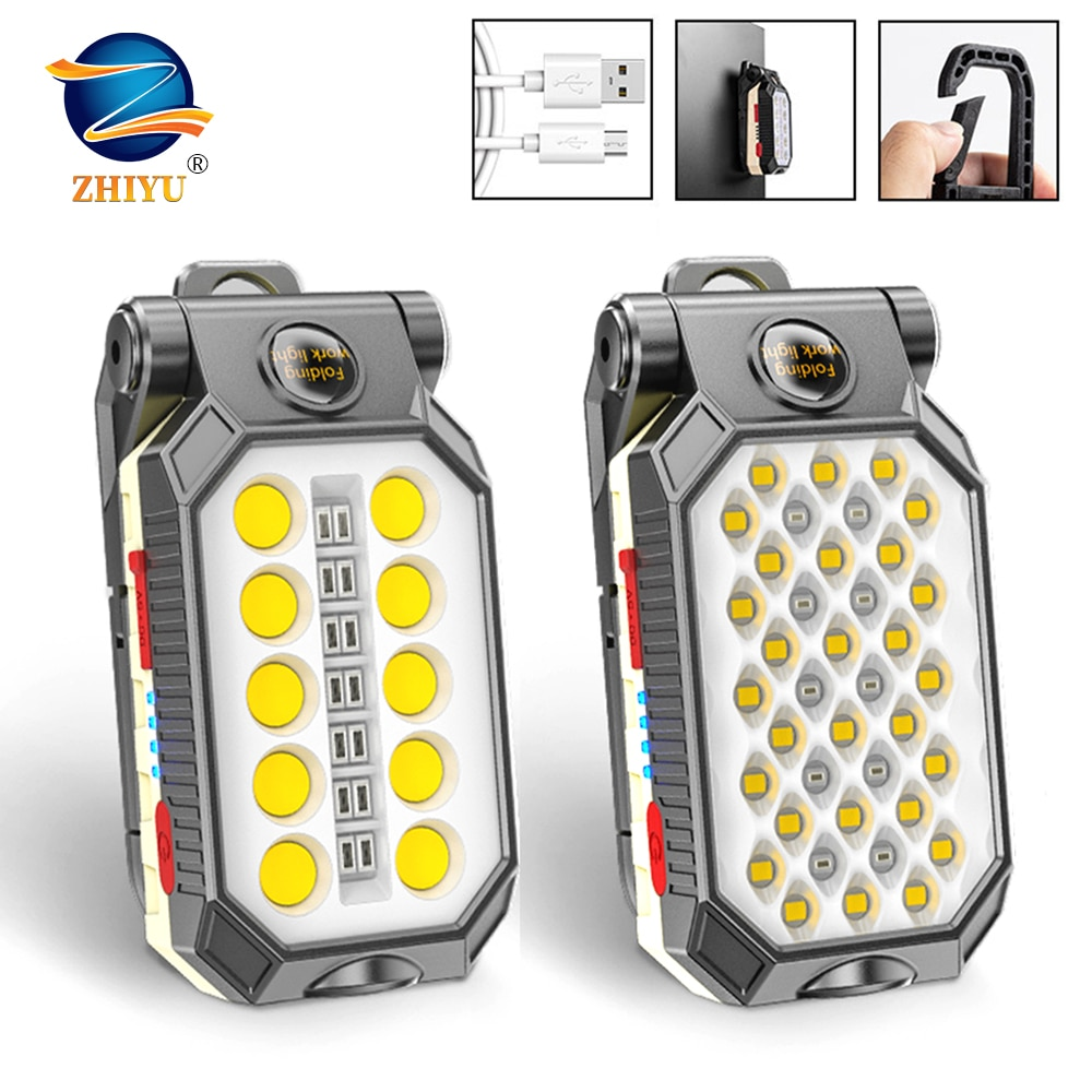 ZHIYU LED COB Rechargeable Magnetic Work Light Portable Flashlight Waterproof Camping Lantern Magnet