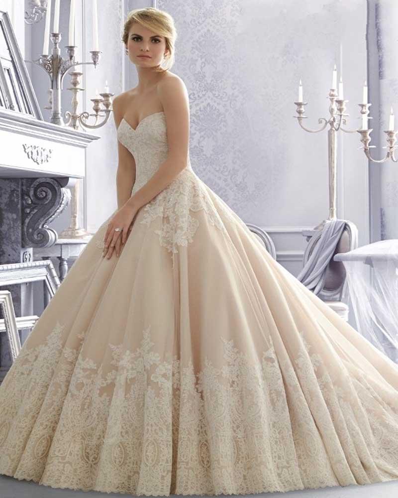Vestidos De Novia 2015 Champagne Kant Wedding Dress Baljurk Bridal Jurken Vintage Trouwjurk Toga Robe De Mariee 2015
