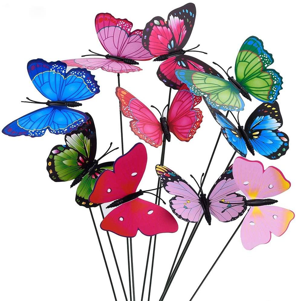 10Pcs Bunch of Butterflies Garden Yard Planter Colorful Butterfly Stakes Decoracion Outdoor Decor Flower Pots Decoration