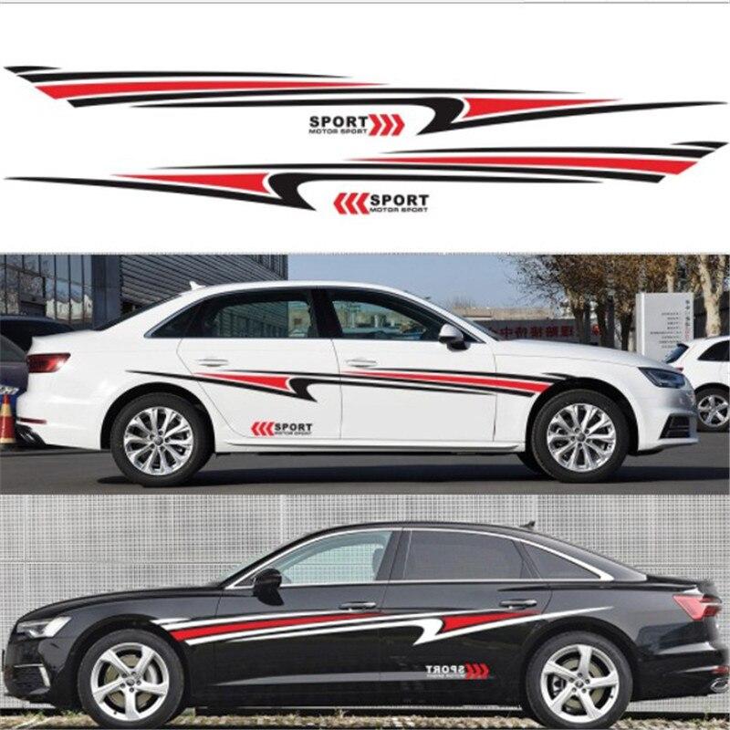 2 uds etiqueta engomada del coche para Audi BMW E60 Ford Toyota Honda coche lateral para carrocería pegatinas falda calcomanías de vinilo para Decoración Accesorios de coche
