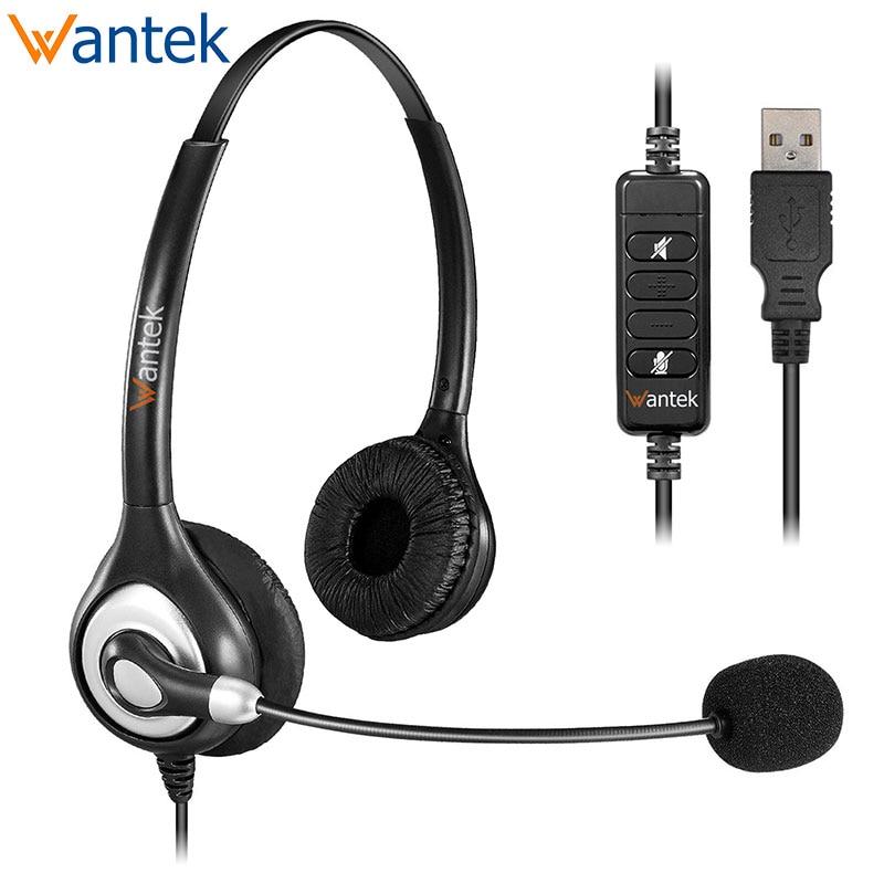 Auriculares estéreo USB con micrófono de cancelación de ruido y controles en línea, auriculares Wantek UC602 para Skype, SoftPhone, centro de llamadas