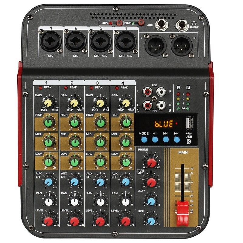 TM4 جهاز دمج صوتي رقمي 4 قنوات وحدة تحكم مدمجة في الطاقة الوهمية مع نظام صوتي احترافي لتسجيل الاستوديو