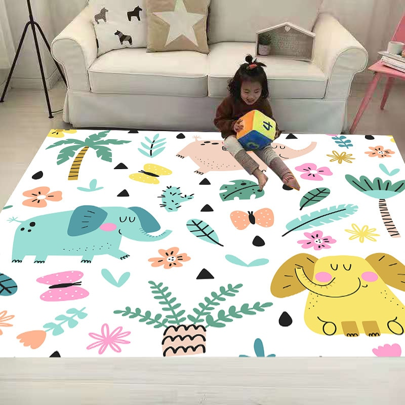 Смешные ворсистые Нескользящие напольные игровые коврики со слоном 3D ковер нескользящий ковер для столовой гостиной мягкий коврик для дет...