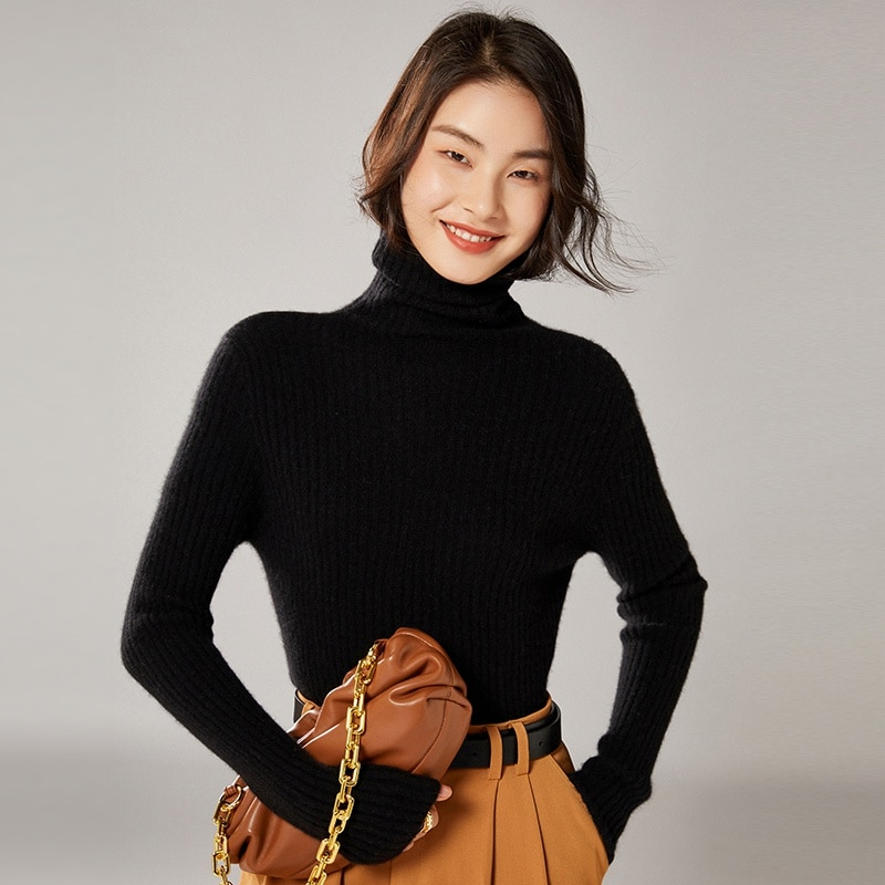 2021 woman winter 100% Cashmere sweaters knitted Pullovers jumper Warm Female Turtleneck blouse blue long sleeve clothing enlarge