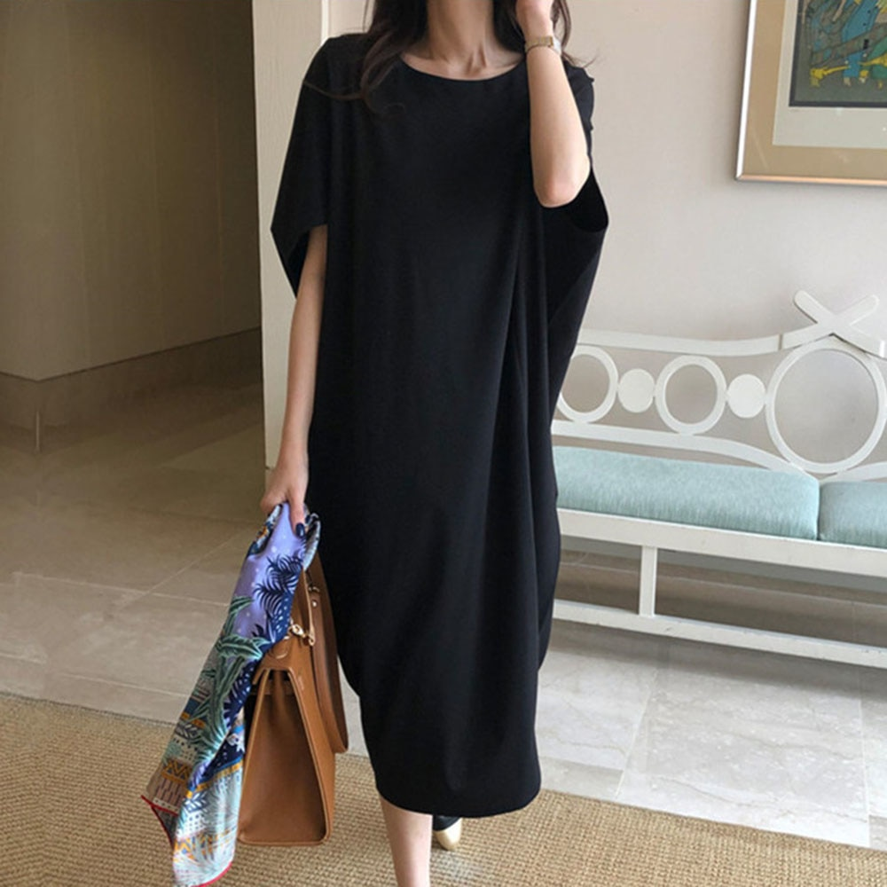 Black Korean Style Casual Dress Loose Waist Round Neck Bat Sleeve 2021 Summer Simple Casual Casual L