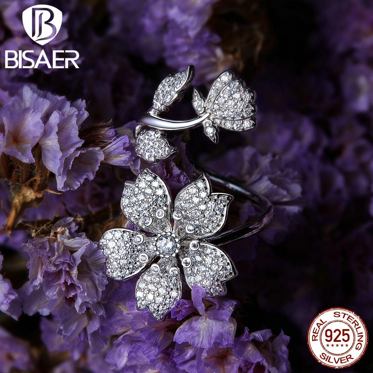 Sakura rings bisaer dazzling cubic zircon 925 Sterling silver blooming Sakura flowers finger rings for women jewelry EFR076