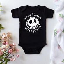 Summer Fashion Baby Halloween Costume One-piece Bodysuit Mommy and Daddy's Little Nightmare Print Ba