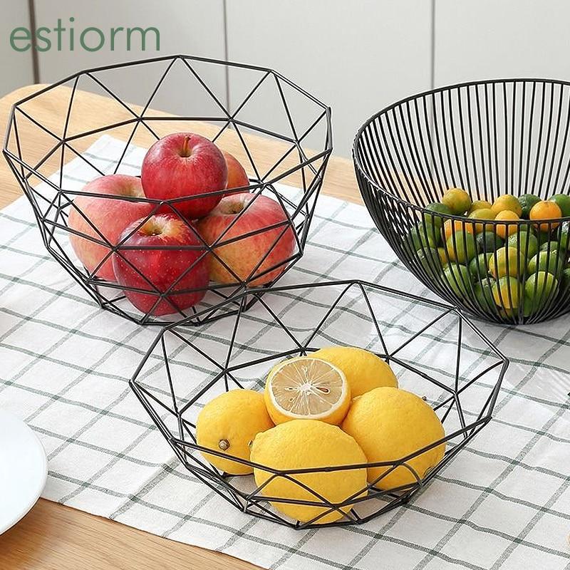 Creative Geometric Fruit Bowl Decorative Metal Fruit Basket Living Room kitchen Counter Coffee Table European Fruit Plate Black