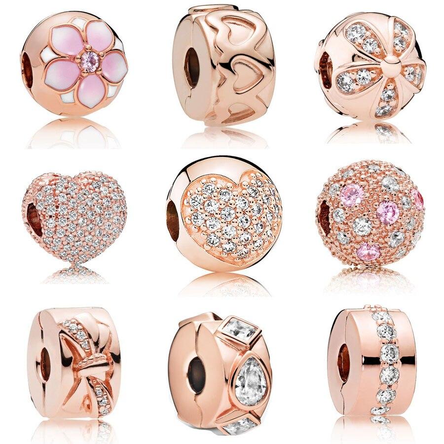 2020 Классический 925 пробы серебро, розовое золото, маргариткой, подрходит к Padnora браслет ювелирные украшения в форме сердца, украшенное искус...