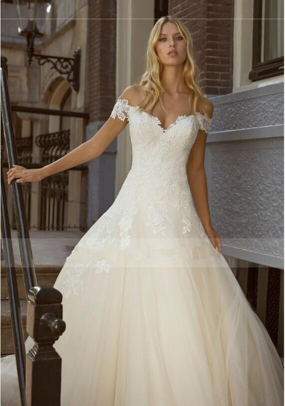 Chamgne فستان الزفاف ألف خط قبعة الأكمام مع يزين مخصص زي العرائس رداء دي ماريج