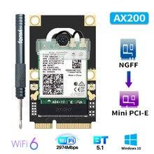 Mini adaptateur PCI-E Wi-Fi6 sans fil 2974Mbps Bluetooth 5.0 Intel AX200 carte Wifi AX200NGW 802.11ax/ac 160Mhz 2.4G/5G Windows10