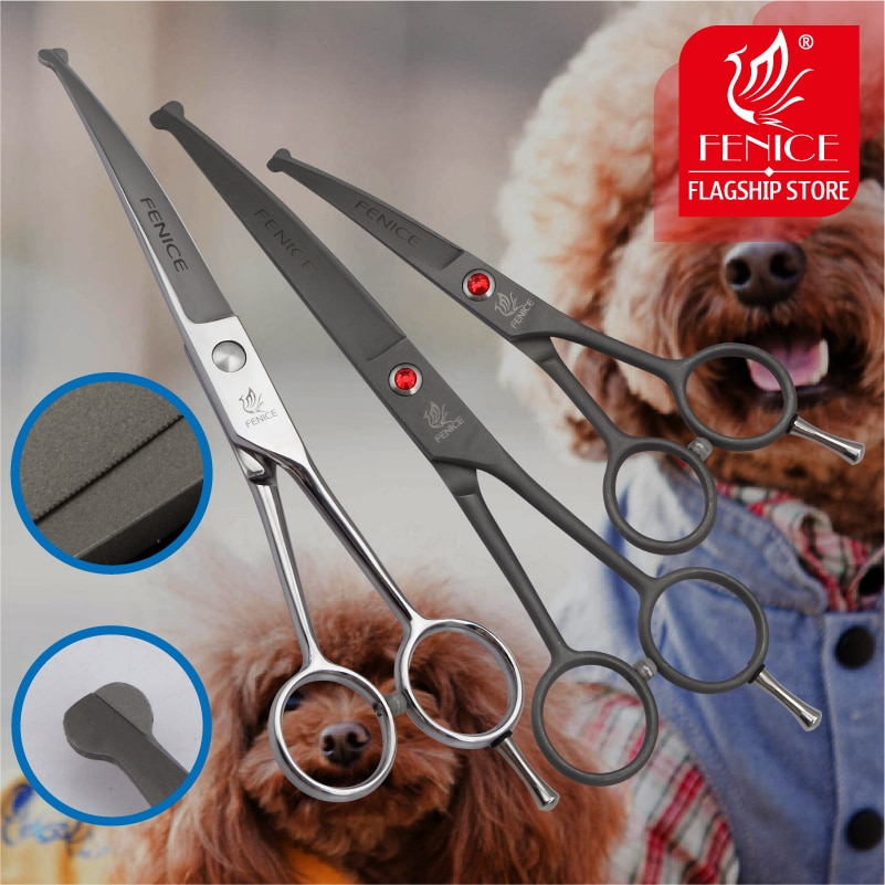 Fenice professional 4.5 7.0 inch safely round tips top pet dog grooming scissors curved trimming for Face, Ear, Nose