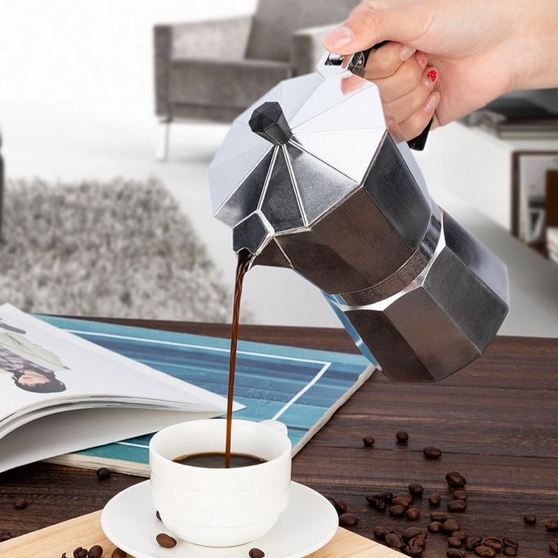 Máquina de café de alumínio durável moka cafeteira expresso percolador pote prático moka cafeteira 50/100/150/300/450/600ml