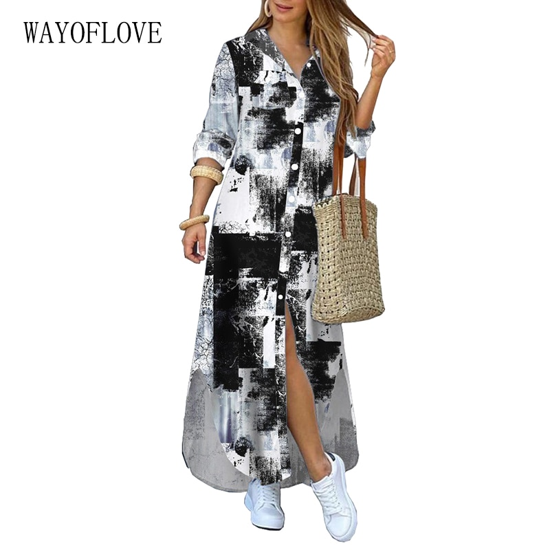 WAYOFLOVE New Geometric Print Long Dress Women Elegant Casual Robe Long Sleeve Dresses Woman Plus Si