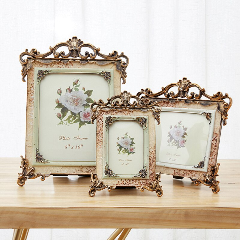 Marco de fotos de boda de resina Retro marco doble de 5 pulgadas decoración de escritorio del hogar marco de foto creativa de lujo europeo