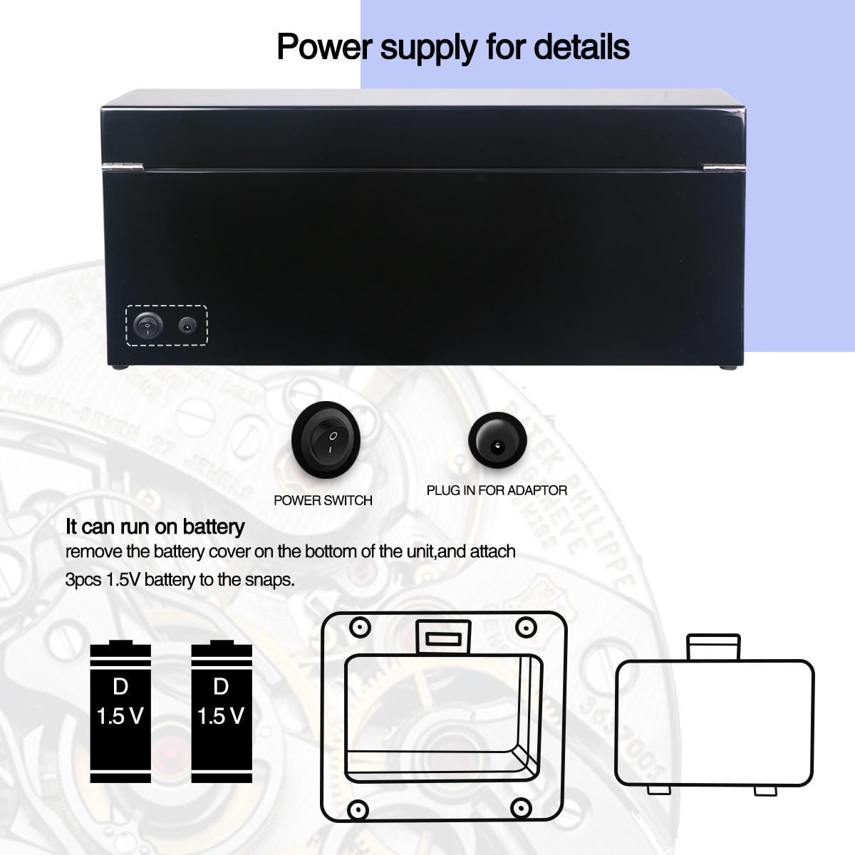 Automatic Watch Winder Box PE Leather Watch Winding Winder Storage Watch Box Collection Display Quiet Motor enlarge