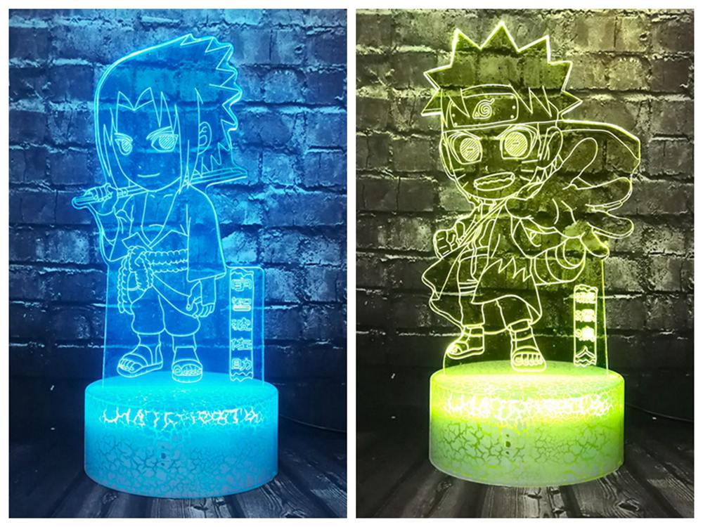New Luster Lover Boyfriend Cartoon 3D LED Night light Vortex Sasuke Naruto Baby Room Sleep Mood Lava Holiday Gift Drop Shipping