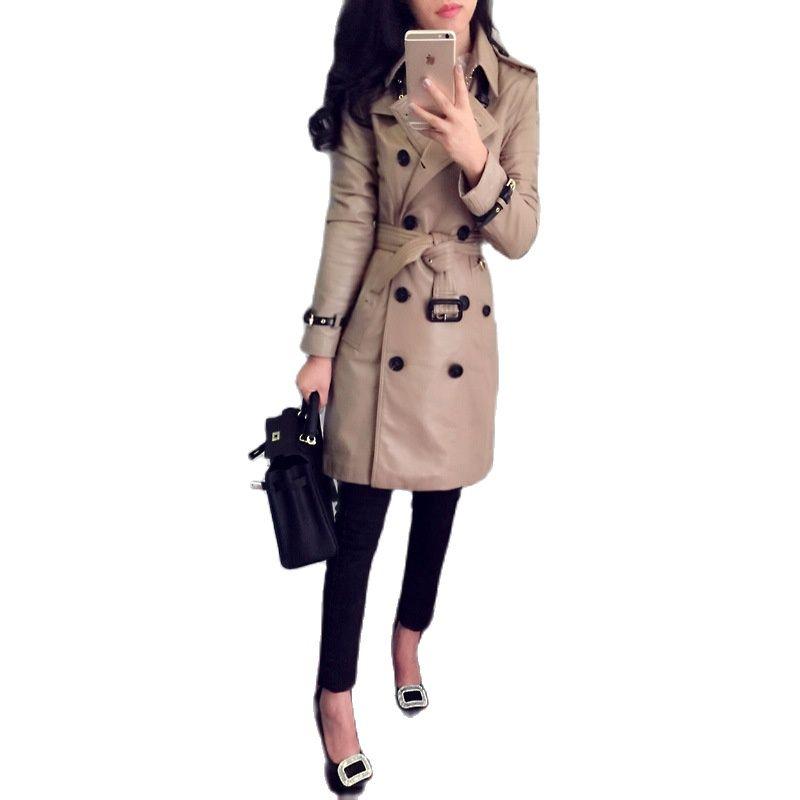 2021 women genuine leather coat women's long trench coat sheepskin double-breasted slim jacket brown genuine leather jacket