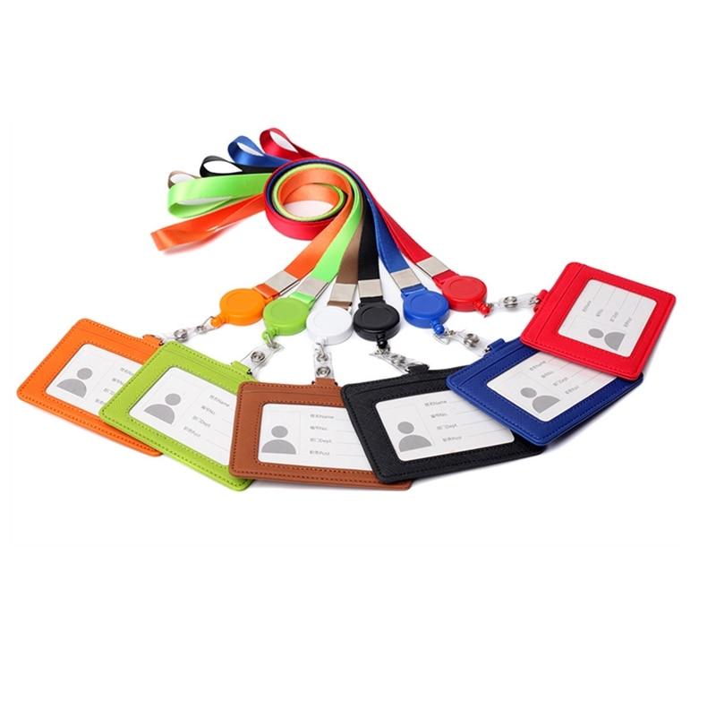 Portadores de identificación Horizon de cuero PU titular de la tarjeta de la insignia del negocio con la correa del sostenedor de la tarjeta de crédito titular del pase del estudiante de enfermería