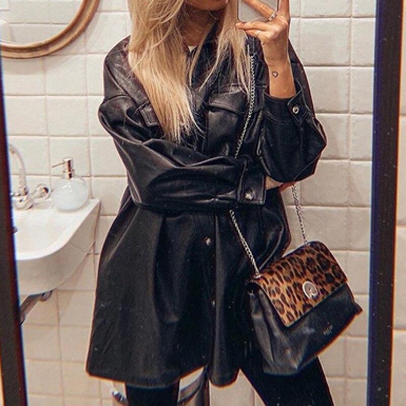 FAKUN Women Lokar PU Leather Coats Fashion Loose Pockets Long Sleeve Jackets Women's Elegant Tie Belt Waist Coats Female Ladies enlarge