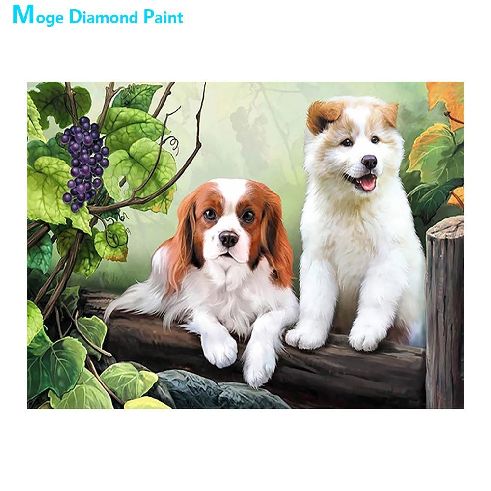 כלב ב את כרם יהלומי ציור בעלי החיים עגול מלא תרגיל Nouveaute DIY פסיפס רקמת 5D צלב סטיץ בית תפאורה מתנות