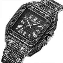HIP HOP Men Watch Luxury Brand Diamond Iced Out Watch Men Roman Calendar Male Quartz Wristwatch relogio masculino reloj hombre