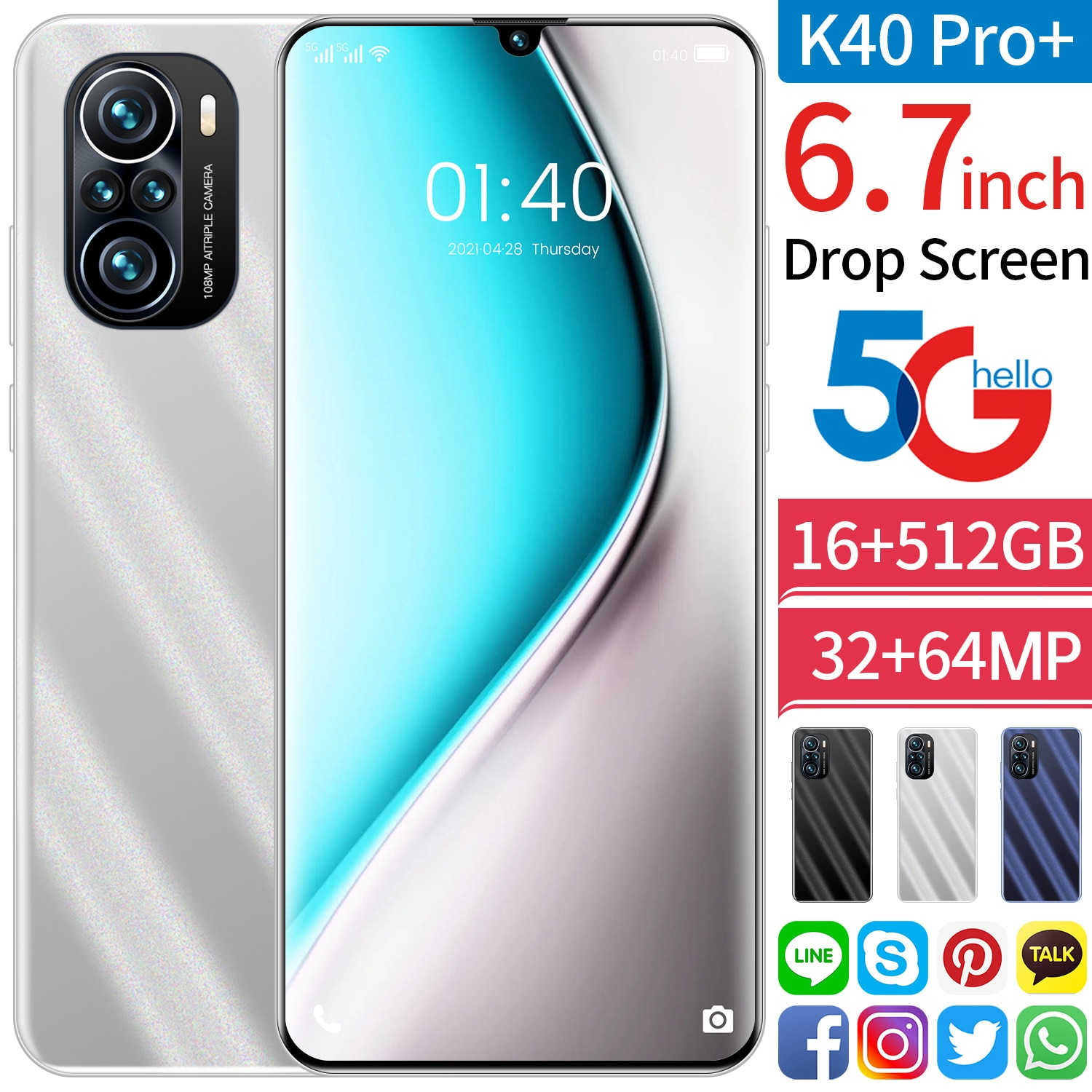 K40 Pro+ 5G Smartphones 6.7inch Android10 16GB+512GB 10-Core Cellphones 24+48MP 6000mAh Battery Dual SIM Card Mobile Phones