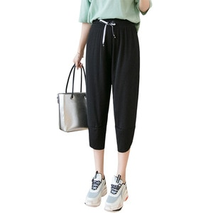 Summer New Seven-point icy pants Comfortable loose Harem pants Version plus fat Size female leggings breathable Sports pants New