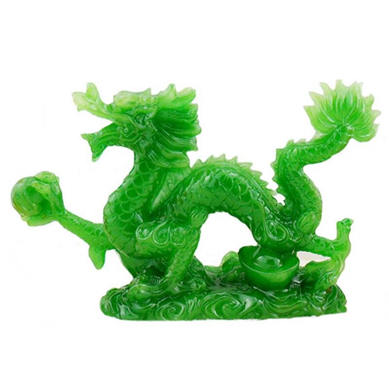 Estatua de dragón chino de la suerte, adornos de Feng Shui, artesanía para la suerte y la decoración exitosa, geomancia para el hogar A312