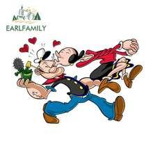 Earlfamily 13Cm X 8.6Cm Auto Stickers Voor Popeye En Olijfje Kus Diy Motorcycle Decal Vinyl Window Bumper waterdicht Cartoon